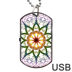 Prismatic Flower Floral Star Gold Green Purple Dog Tag USB Flash (Two Sides)