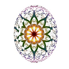 Prismatic Flower Floral Star Gold Green Purple Oval Filigree Ornament (Two Sides)