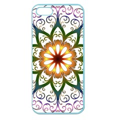 Prismatic Flower Floral Star Gold Green Purple Apple Seamless iPhone 5 Case (Color)