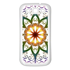 Prismatic Flower Floral Star Gold Green Purple Samsung Galaxy S3 Back Case (White)