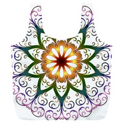 Prismatic Flower Floral Star Gold Green Purple Full Print Recycle Bags (l)