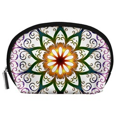Prismatic Flower Floral Star Gold Green Purple Accessory Pouches (Large)