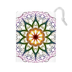 Prismatic Flower Floral Star Gold Green Purple Drawstring Pouches (Large)