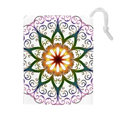 Prismatic Flower Floral Star Gold Green Purple Drawstring Pouches (Extra Large)