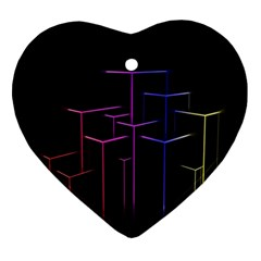 Space Light Lines Shapes Neon Green Purple Pink Ornament (Heart)