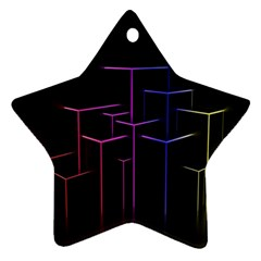 Space Light Lines Shapes Neon Green Purple Pink Ornament (Star)