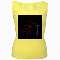 Space Light Lines Shapes Neon Green Purple Pink Women s Yellow Tank Top