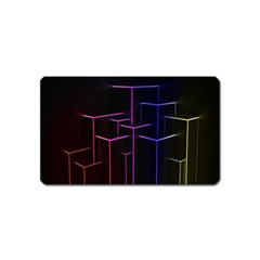 Space Light Lines Shapes Neon Green Purple Pink Magnet (Name Card)