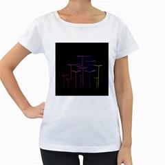 Space Light Lines Shapes Neon Green Purple Pink Women s Loose-Fit T-Shirt (White)