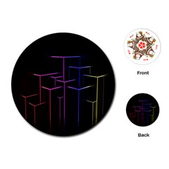 Space Light Lines Shapes Neon Green Purple Pink Playing Cards (round)