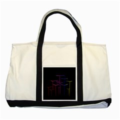 Space Light Lines Shapes Neon Green Purple Pink Two Tone Tote Bag