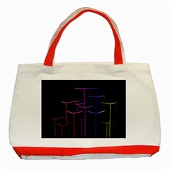 Space Light Lines Shapes Neon Green Purple Pink Classic Tote Bag (Red)