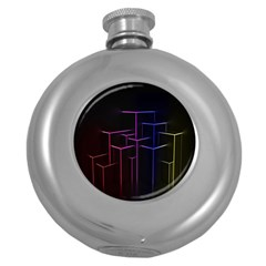 Space Light Lines Shapes Neon Green Purple Pink Round Hip Flask (5 oz)
