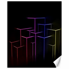 Space Light Lines Shapes Neon Green Purple Pink Canvas 16  x 20