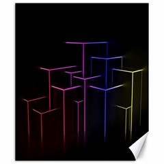 Space Light Lines Shapes Neon Green Purple Pink Canvas 20  X 24