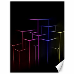 Space Light Lines Shapes Neon Green Purple Pink Canvas 36  x 48