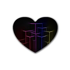 Space Light Lines Shapes Neon Green Purple Pink Heart Coaster (4 pack)