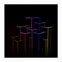 Space Light Lines Shapes Neon Green Purple Pink Medium Glasses Cloth (2-Side)
