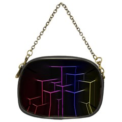 Space Light Lines Shapes Neon Green Purple Pink Chain Purses (Two Sides)