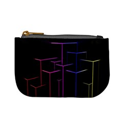 Space Light Lines Shapes Neon Green Purple Pink Mini Coin Purses