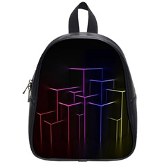 Space Light Lines Shapes Neon Green Purple Pink School Bags (Small)