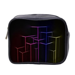 Space Light Lines Shapes Neon Green Purple Pink Mini Toiletries Bag 2-Side
