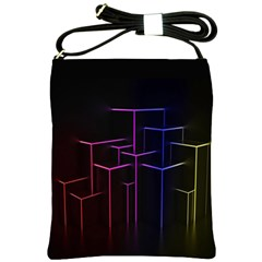 Space Light Lines Shapes Neon Green Purple Pink Shoulder Sling Bags