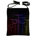 Space Light Lines Shapes Neon Green Purple Pink Shoulder Sling Bags Front