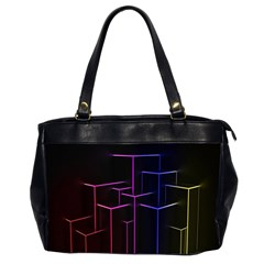 Space Light Lines Shapes Neon Green Purple Pink Office Handbags (2 Sides)