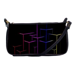 Space Light Lines Shapes Neon Green Purple Pink Shoulder Clutch Bags