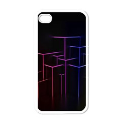 Space Light Lines Shapes Neon Green Purple Pink Apple iPhone 4 Case (White)