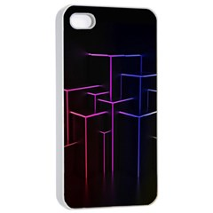 Space Light Lines Shapes Neon Green Purple Pink Apple iPhone 4/4s Seamless Case (White)