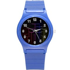 Space Light Lines Shapes Neon Green Purple Pink Round Plastic Sport Watch (S)