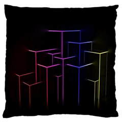 Space Light Lines Shapes Neon Green Purple Pink Large Cushion Case (Two Sides)