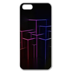 Space Light Lines Shapes Neon Green Purple Pink Apple Seamless iPhone 5 Case (Clear)