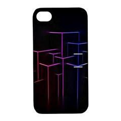 Space Light Lines Shapes Neon Green Purple Pink Apple iPhone 4/4S Hardshell Case with Stand