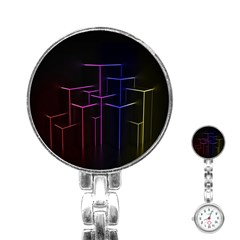 Space Light Lines Shapes Neon Green Purple Pink Stainless Steel Nurses Watch