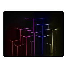 Space Light Lines Shapes Neon Green Purple Pink Double Sided Fleece Blanket (small)