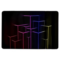 Space Light Lines Shapes Neon Green Purple Pink iPad Air Flip