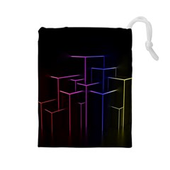Space Light Lines Shapes Neon Green Purple Pink Drawstring Pouches (Large)