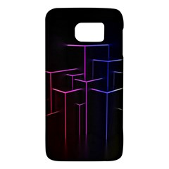 Space Light Lines Shapes Neon Green Purple Pink Galaxy S6