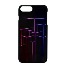 Space Light Lines Shapes Neon Green Purple Pink Apple Iphone 7 Plus Seamless Case (black)