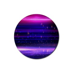 Space Planet Pink Blue Purple Rubber Coaster (Round)