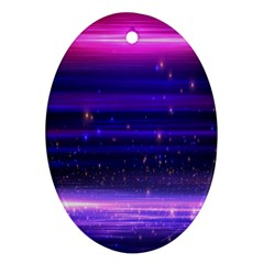 Space Planet Pink Blue Purple Oval Ornament (Two Sides)