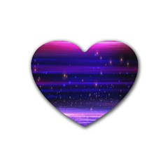 Space Planet Pink Blue Purple Rubber Coaster (Heart)