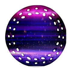 Space Planet Pink Blue Purple Round Filigree Ornament (Two Sides)
