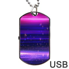 Space Planet Pink Blue Purple Dog Tag USB Flash (Two Sides)