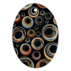 Seamless Cubes Texture Circle Black Orange Red Color Rainbow Ornament (Oval)