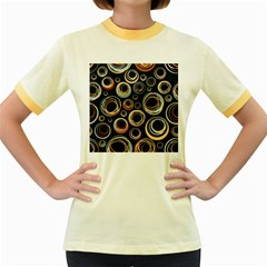 Seamless Cubes Texture Circle Black Orange Red Color Rainbow Women s Fitted Ringer T-Shirts