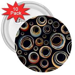 Seamless Cubes Texture Circle Black Orange Red Color Rainbow 3  Buttons (10 pack)